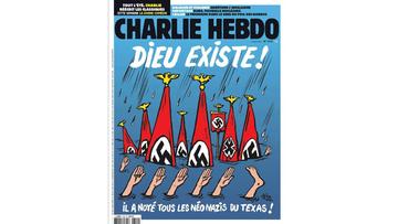 """""""Bóg istnieje! Zatopił wszystkich neonazistów w Teksasie"""". Kontrowersyjna okładka """"Charlie Hebdo"""""""