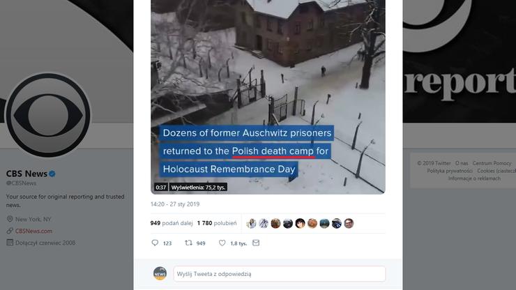 """""""Polski obóz śmierci"""" w amerykańskiej CBS News"""