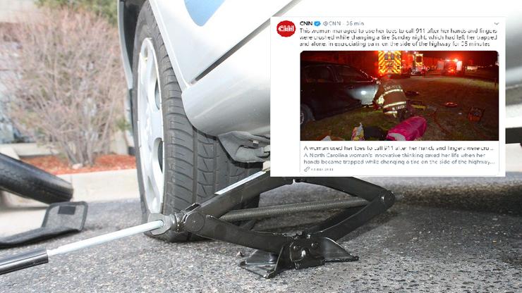Samochód przygniótł jej ręce. Pomoc wezwała, używając palców u stóp